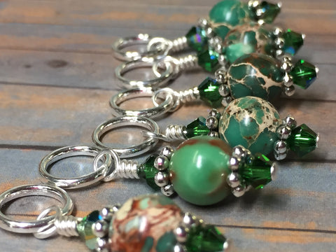Green Magnesite Stitch Marker Holder , Stitch Markers - Jill's Beaded Knit Bits, Jill's Beaded Knit Bits  - 5