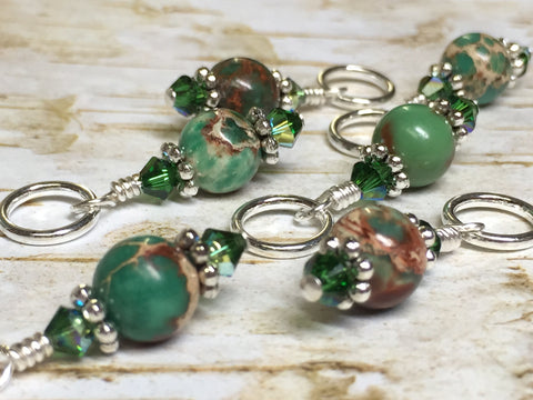 Green Magnesite Stitch Marker Holder , Stitch Markers - Jill's Beaded Knit Bits, Jill's Beaded Knit Bits  - 13