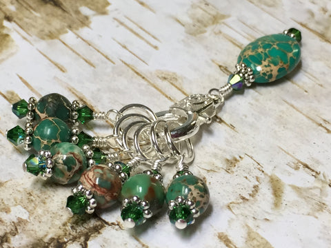 Green Magnesite Stitch Marker Holder , Stitch Markers - Jill's Beaded Knit Bits, Jill's Beaded Knit Bits  - 14