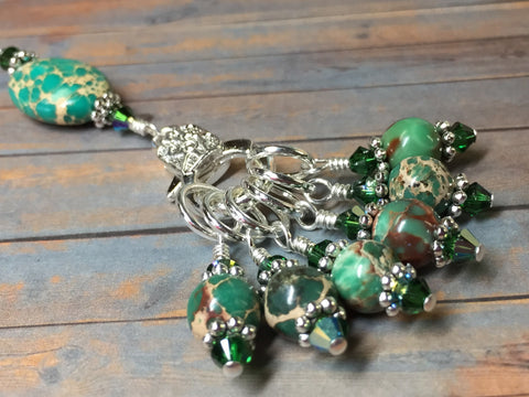 Green Magnesite Stitch Marker Holder , Stitch Markers - Jill's Beaded Knit Bits, Jill's Beaded Knit Bits  - 1