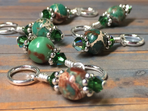 Green Magnesite Stitch Marker Holder , Stitch Markers - Jill's Beaded Knit Bits, Jill's Beaded Knit Bits  - 7