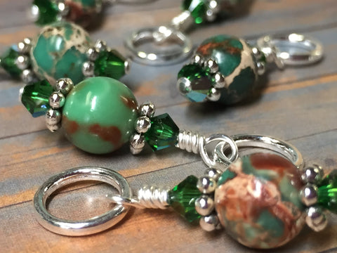 Green Magnesite Stitch Marker Holder , Stitch Markers - Jill's Beaded Knit Bits, Jill's Beaded Knit Bits  - 4