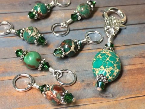 Green Magnesite Stitch Marker Holder , Stitch Markers - Jill's Beaded Knit Bits, Jill's Beaded Knit Bits  - 8