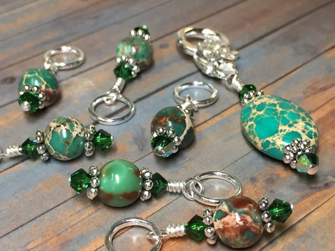 Green Magnesite Stitch Marker Holder , Stitch Markers - Jill's Beaded Knit Bits, Jill's Beaded Knit Bits  - 9