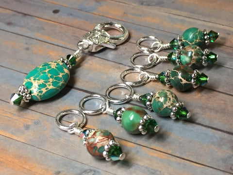 Green Magnesite Stitch Marker Holder , Stitch Markers - Jill's Beaded Knit Bits, Jill's Beaded Knit Bits  - 2