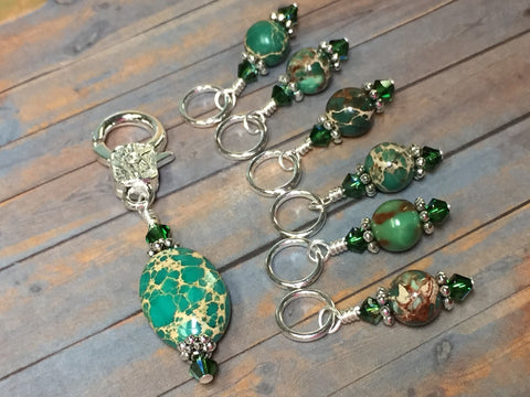 Green Magnesite Stitch Marker Holder , Stitch Markers - Jill's Beaded Knit Bits, Jill's Beaded Knit Bits  - 10