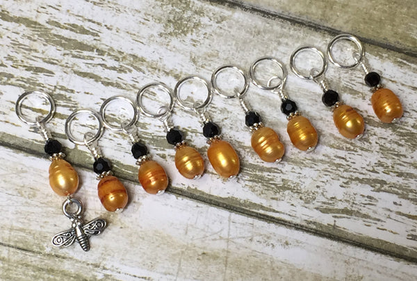 Honey Bee Stitch Marker Set For Knitters- 9 pc. Set , Stitch Markers - Jill's Beaded Knit Bits, Jill's Beaded Knit Bits  - 4