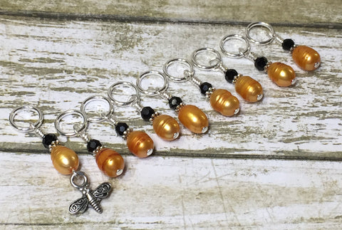 Honey Bee Stitch Marker Set For Knitters- 9 pc. Set , Stitch Markers - Jill's Beaded Knit Bits, Jill's Beaded Knit Bits  - 6