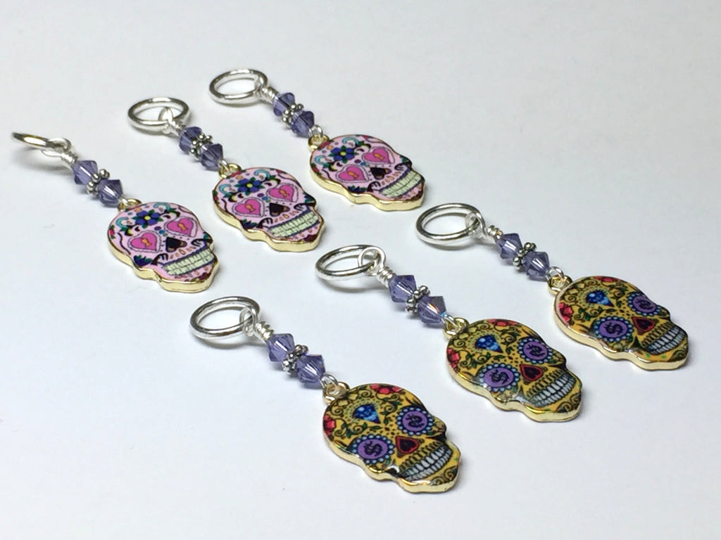 6 Sugar Skull Stitch Markers- Snag Free Beaded Knitting Markers- Gifts for Knitters- Tools- Supplies- Crochet Markers ,  - Jill's Beaded Knit Bits, Jill's Beaded Knit Bits  - 1