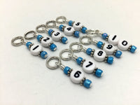 1-10 Numbered Knitting Stitch Markers- Beaded Snag Free Row Counter- Knitting Gift, Progress Markers , stitch markers - Jill's Beaded Knit Bits, Jill's Beaded Knit Bits  - 1
