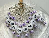 Purple Speckle Numbered Stitch Markers, Removable 1-10 Row Counting Markers for Knitting & Crochet- Gift for Knitters, Open Hook Markers ,  - Jill's Beaded Knit Bits, Jill's Beaded Knit Bits  - 2