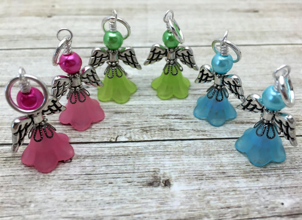 Angel Stitch Marker set- Snag Free Beaded Knitting Stitch Markers- Gift for Knitters- Tools ,  - Jill's Beaded Knit Bits, Jill's Beaded Knit Bits  - 1