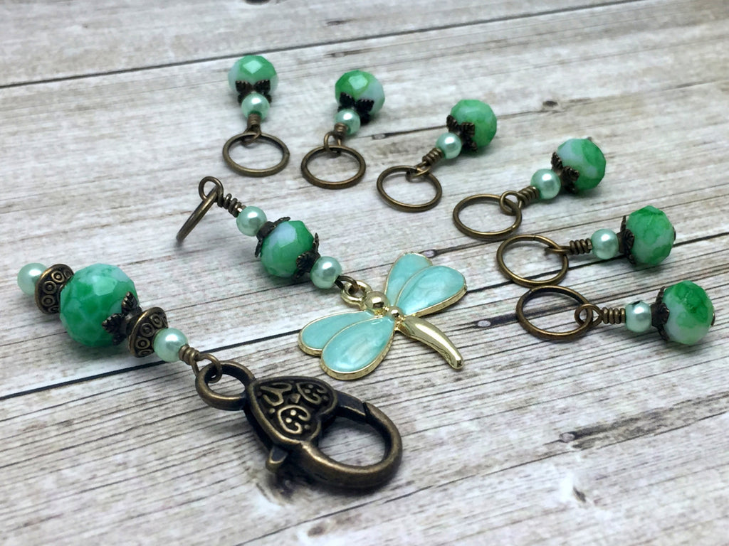 Mint Green Dragonfly Stitch Markers with Holder - Beaded Snag Free Knitting marker Set - Gift for Knitters- Tools - Knitting Bag organizer ,  - Jill's Beaded Knit Bits, Jill's Beaded Knit Bits  - 1