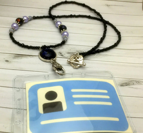 Black Lavender Stitch Marker Necklace- Work ID Badge Lanyard- Eyeglasses Holder- Gift for Knitters- Snag Free Knitting Marker Jewelry , Jewelry - Jill's Beaded Knit Bits, Jill's Beaded Knit Bits  - 4