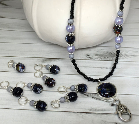 Black Lavender Stitch Marker Necklace- Work ID Badge Lanyard- Eyeglasses Holder- Gift for Knitters- Snag Free Knitting Marker Jewelry , Jewelry - Jill's Beaded Knit Bits, Jill's Beaded Knit Bits  - 3