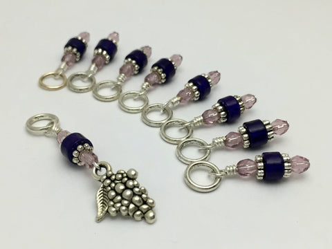 Bunch of Grapes Stitch Marker Set- Gift for Knitters- Purple Knitting Markers , Stitch Markers - Jill's Beaded Knit Bits, Jill's Beaded Knit Bits  - 3