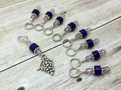 Bunch of Grapes Stitch Marker Set- Gift for Knitters- Purple Knitting Markers , Stitch Markers - Jill's Beaded Knit Bits, Jill's Beaded Knit Bits  - 5