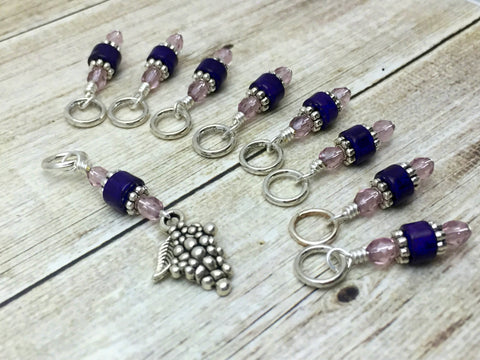 Bunch of Grapes Stitch Marker Set- Gift for Knitters- Purple Knitting Markers , Stitch Markers - Jill's Beaded Knit Bits, Jill's Beaded Knit Bits  - 2