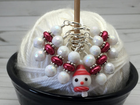 Snowman Stitch Marker Set, Snag Free Red And White Beaded Knitting Markers, Winter Gifts for Knitters ,  - Jill's Beaded Knit Bits, Jill's Beaded Knit Bits  - 3