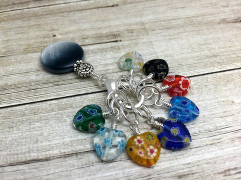 Floral Heart Stitch Markers Holder & Beaded Clip Holder- Gift for Knitters- Knitting Notions- Snag Free ,  - Jill's Beaded Knit Bits, Jill's Beaded Knit Bits  - 4