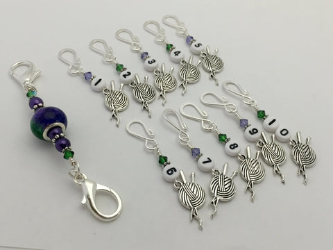 Yarn Charm Numbered Stitch Markers & Holder - Row Counting Markers