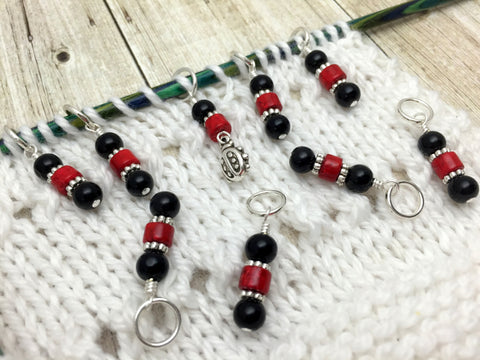 Ladybug Snag Free Stitch Markers- Birthday Gifts for Knitters - Crochet Markers - Beaded Knitting Markers - Tools ,  - Jill's Beaded Knit Bits, Jill's Beaded Knit Bits  - 2