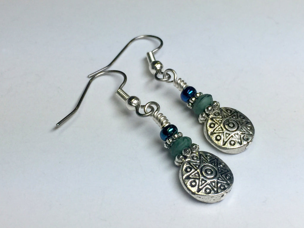 Antique Sun Dangle Earrings- Beaded Earrings- French Hook Wire Earrings- Casual Modern Jewelry- Mother's Day Gift ,  - Jill's Beaded Knit Bits, Jill's Beaded Knit Bits  - 1