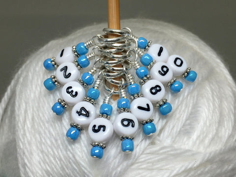 1-10 Numbered Knitting Stitch Markers- Beaded Snag Free Row Counter- Knitting Gift, Progress Markers , stitch markers - Jill's Beaded Knit Bits, Jill's Beaded Knit Bits  - 5