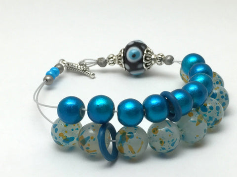 Blue Abacus Row Counting Bracelet- Gift for Knitters