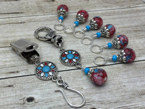 Western Mosaic Portuguese Knitting Pin & Stitch Marker Set