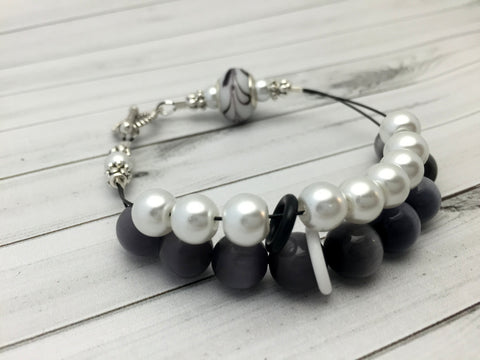 Black & White Abacus Knitting Row Counter Bracelet