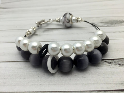 Black & White Abacus Knitting Row Counter Bracelet , Jewelry - Jill's Beaded Knit Bits, Jill's Beaded Knit Bits  - 2
