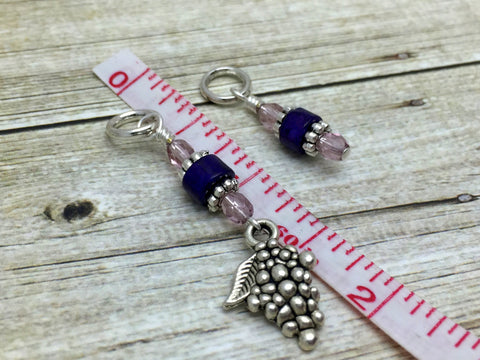 Bunch of Grapes Stitch Marker Set- Gift for Knitters- Purple Knitting Markers , Stitch Markers - Jill's Beaded Knit Bits, Jill's Beaded Knit Bits  - 4