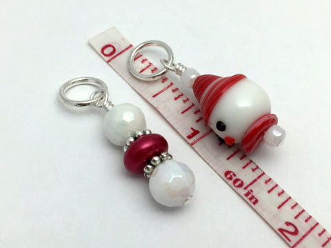 Snowman Stitch Marker Set, Snag Free Red And White Beaded Knitting Markers, Winter Gifts for Knitters ,  - Jill's Beaded Knit Bits, Jill's Beaded Knit Bits  - 4