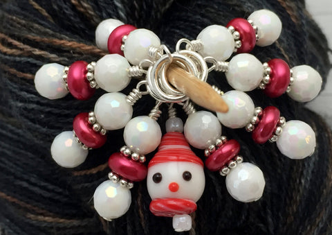 Snowman Stitch Marker Set, Snag Free Red And White Beaded Knitting Markers, Winter Gifts for Knitters ,  - Jill's Beaded Knit Bits, Jill's Beaded Knit Bits  - 1