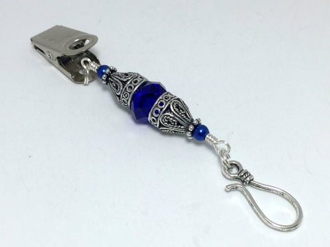 Vintage Cobalt Crystal Portuguese Knitting Pin- Blue Knitting Clip- Gift for Portuguese Knitters- Clip on ID Badge Holder ,  - Jill's Beaded Knit Bits, Jill's Beaded Knit Bits  - 1