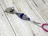 Vintage Cobalt Crystal Portuguese Knitting Pin- Blue Knitting Clip- Gift for Portuguese Knitters- Clip on ID Badge Holder ,  - Jill's Beaded Knit Bits, Jill's Beaded Knit Bits  - 3