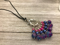 Stitch Marker Necklace for Knitting on Adjustable leather Cord, Includes 7 Knitting Markers
