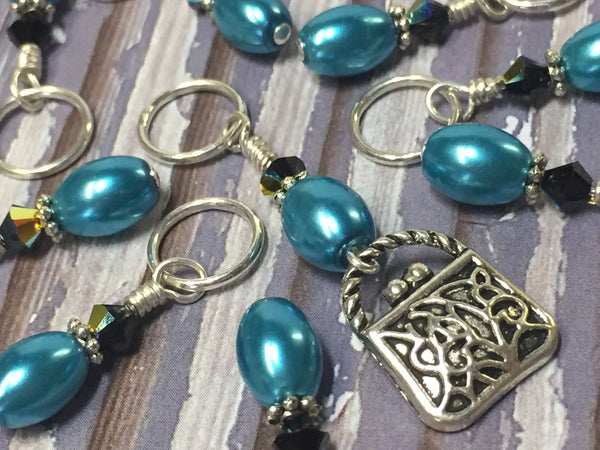Teal Stitch Marker Set with Purse Charm | Knitters Gift | Snag Free