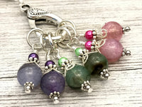 Pastel Stitch Marker Necklace | Leather Cord | Gifts for Knitters | Snag Free | FREE US SHIPPING