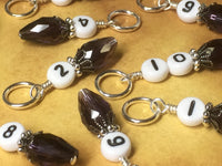 Crystal Teardrop Number Stitch Marker Set for Knitting or Crochet, Progress Keeper, Gift for Knitter