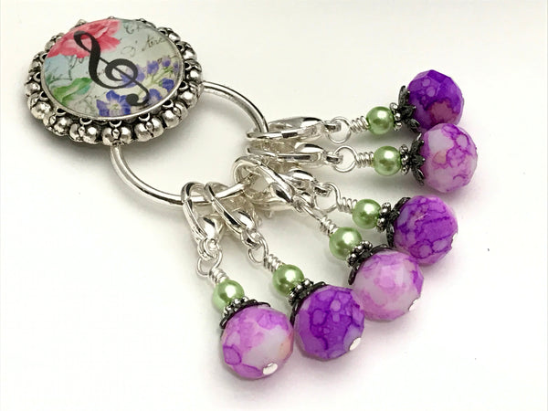 Music Note Stitch Marker Holder with Removable Progress Markers, Magnetic Holder