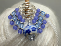 Blue Floral Stitch Marker Set, Gifts for Knitters