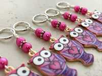 Purple Owl Stitch Marker Charms | SNAG FREE | Gifts for Knitters
