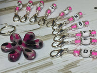 Crochet Hook Letter Stitch Markers and Flower Holder - Multiple Colors