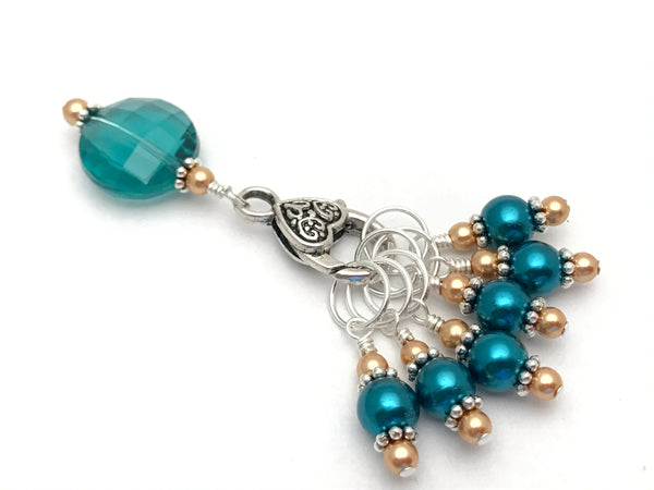 Aqua Gold Stitch Marker Set with Holder | Gift for Knitters | Snag Free Knitting Markers