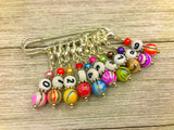 Rainbow Stripe Numbered Stitch Marker Set | Knitters Gift | Removable Progress Keeper