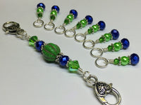 Navy & Green Stitch Marker Set with Holder  | Snag Free | Gift for Knitters | Sizes US3-US15 | FREE US SHIPPING