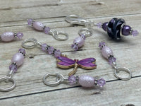 Purple Dragonfly Stitch Marker Holder & Snag Free Knitting Charms
