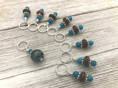 Snag Free Blue & Brown Stitch Marker Set | Gifts for Knitters |